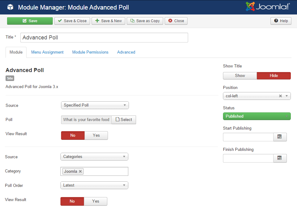 advpoll module settings