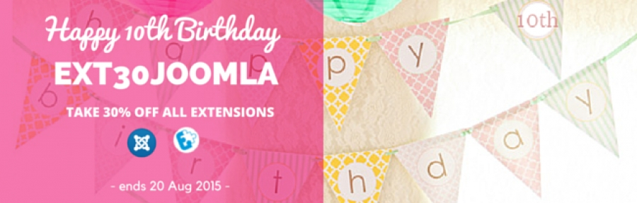 Let's say Happy Birthday to Joomla: 30% DISCOUNT AT EXTSTORE.COM