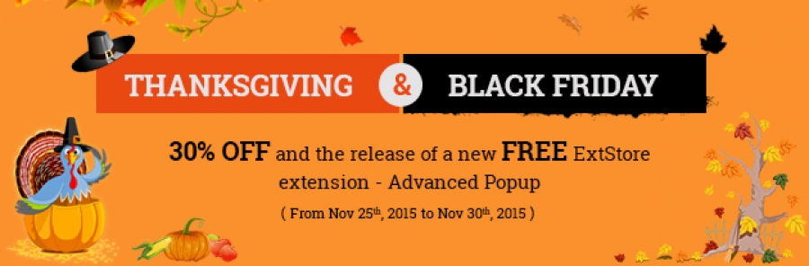 30% OFF  and the release of a new Free ExtStore extension - Advanced Popup.