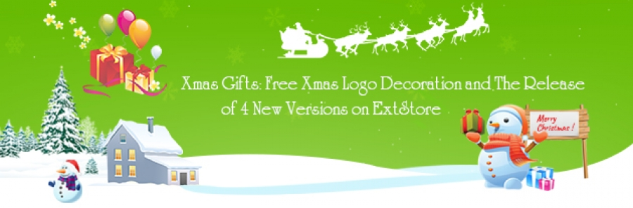 Xmas Gifts: Free Xmas Logo Decoration and the release of 4 new versions on ExtStore