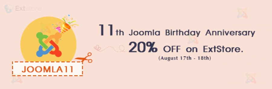 11th Joomla Birthday Anniversary and 20% OFF on ExtStore
