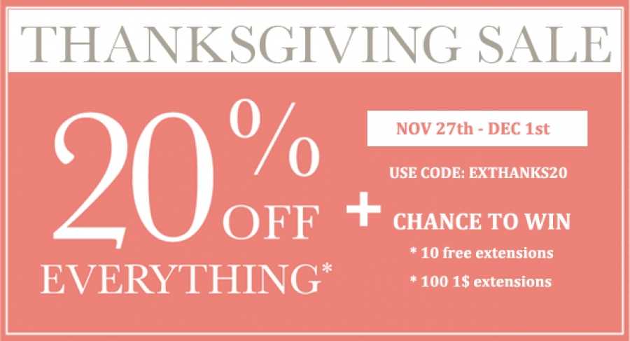20% OFF on all products and 100 $1 extensions on Thanksgiving